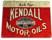Kendall Motor Oil Gas Garage Auto Shop Retro Metal Oil Decor Tin Sign