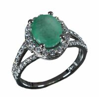 Handmade 925 Solid Sterling Silver Ring Natural Emerald Stone US Size 7.25 R690