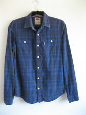 LEVI'S | Men's Blue Black Check Soft Brushed Cotton Modern Fit L/S Shirt | Small