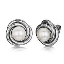 Titanio Perla Espirales Pendientes 15mm