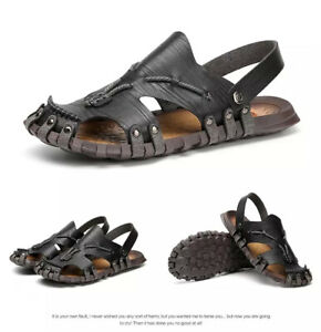 Summer Beach Men Leather Slippers Sandals Casual Closed Toe Flat Shoes Anti-slip