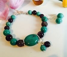 Handmade Genuine Gemstone Jewellery, multi gemstone bracelet with free earrings.