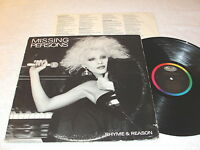 "Missing Persons ""Rhyme & Reason"" 1984 Rock LP, Nice EX!, Vinyl, Original Capitol"