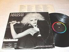 "Missing Persons ""Rhyme & Reason"" 1984 Rock LP, Nice EX!, Vinyl, Original Capitol"
