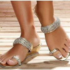 New Fashion Women Bling Flat Solid Toe Highlight Slippers Mules Slip On Shoes