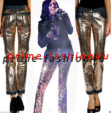 Dolce & Gabbana  Gold Tone  SEQUINNED DENIM JEANS  Pants