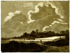 Antique Master Print-HARVEST-WHEAT-FARMER-ENGLISH LANDSCAPE-Anonymous-c.1820