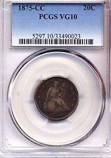 1875 CC TWENTY CENT PCGS VG 10 COIN COINS ORIGINAL NICE !