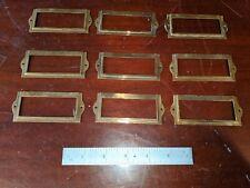 VINTAGE  BRASS FILE CABINET /DRAWER LABEL  HOLDERS 9 Pieces