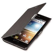 LG Optimus L7 P700 Slim Flip Case Cover Tasche Schutz Hülle Etui Schwarz