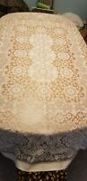 "Vintage Beige Ecru Lace Tablecloth 62"" x 84"" Made in Great Britain Banquette"