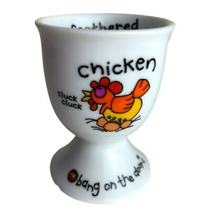 Bang On the Door Chicken Egg Cup - Feathered Friend Vintage & Rare