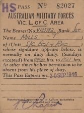 Australian Military Forces Victoria pass for T Mills V133782 unit S/C Ech & Rec