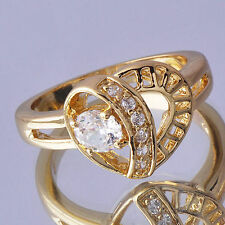 Womens Wedding Ring Yellow Gold Filled Heart Ring With CZ Size 7