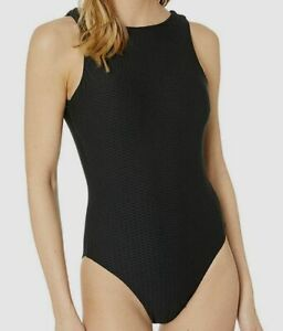 $349 Seafolly Women's Black Stretch High Neck Maillot One-Piece Swim Swimsuit 12