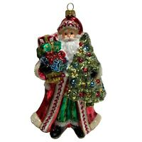 Santa Claus with Christmas Tree and Presents Polish Glass Ornament Decoration