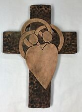 Cross Handmade Stoneware Heart 2 People Celtic Intertwined Arms Wall Art Signed