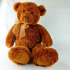 "GUND Fuzzy Teddy Bear 14"" Plush Stuffed Animal Toy Brown Tan 2011 Yellow Bow"
