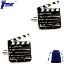 Fashion Cuff Links Men Movie Clapper Board Shirt Cufflinks With Velvet Bag