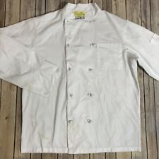 Chef Coat Double Breasted White 100% Polyester Work Uniform Medium #88