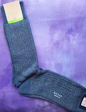 Paul Smith Para Hombre Italiano Calcetines Brillo Costilla Azul Plata K134 midthickness One Size