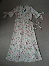 Topshoo Woman Floral Satin Wrap Dress Size 10 Uk New