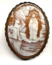 RARE RELIGIOUS TYPE CARVED CAMEO IN SILVER FRAME LADY OF LOURDES (#31)