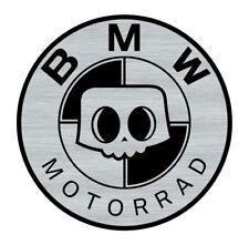Logo adhésif gravé BMW SKULL Motorrad Café Racer - 5,5cm x 5,5cm - ép. 1mm