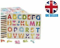 NEW Wooden Puzzle Baby Kids Toddler Jigsaw Alphabet Letters Animal Learning Toys