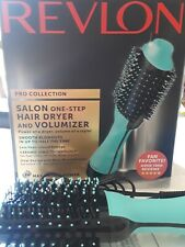Revlon PRO Collection Salon One Step Hair Dryer and Volumizer Brush Teal-Used On