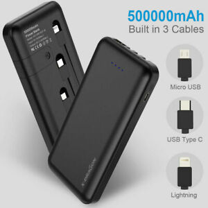 500000mAh Power Bank Portable External Battery Built in 3 cables For Cell Phone