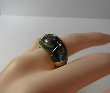 Pale Gold Sterling Silver Abalone Domed Dome Mosaic Inlay Size 6 Ring 9.5 Grams