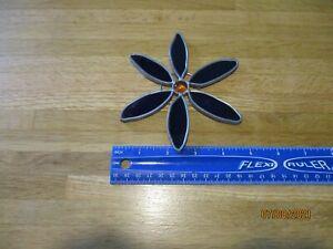 Vintage Leaded Stained Glass Flower Suncatcher/Handmade