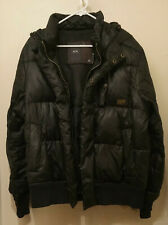 G Star Raw Men's Size XL Black Puffer Quilted Hooded Bomber Jacket
