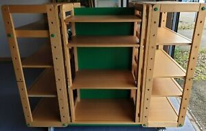 Multi Section wood & metal Shelving Display units on wheels - COLLECTION ONLY