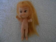 "VINTAGE TINY 3 1/4"" DOLL WITH BLONDE HAIR TO THE FLOOR"