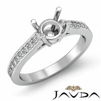Round Semi Mount Fine Diamond Engagement Pave Setting Ring 18k White Gold 0.25Ct