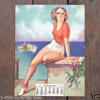 Vintage Crandell LUCKY STRIKE Accent on Youth Pinup Lithograph Calendar 1939 NOS