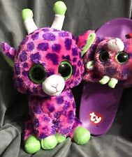 "TWIGS Pink Purple Beanie BOOS Giraffe BIG SPARKLY EYES 10""slippers Shoe 4/5 Girl"