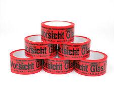 6x Rollen Klebeband Vorsicht Glas Echte 66m Packband Paketband Paketklebeband