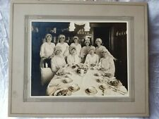 1800's Antique photograph of 9 Women/friends Celebrating! Beautifully matted