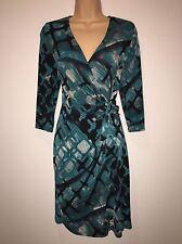 BNWT Kaleidoscope Green And Black Wrap Dress Size 12