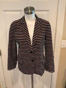 J. Crew Navy & Light Brown Striped Knit Blazer, Size M