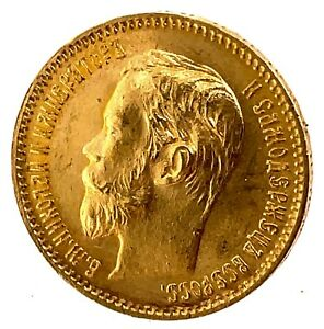 1902 A.P. RUSSIA 5 ROUBLE GOLD COIN IMPERIAL RUSSIAN NICHOLAS II  Y#62 4.3Gr C#2