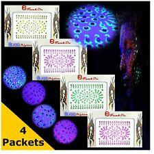 BINDI 4 x Multi Pack NEON Indian Crystal Festival FACE GEMS Makeup JEWELS Dot