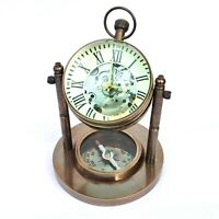 Antique Brass Desk Clock Base Compass Mechanical Vintage Style Collectible Gift