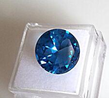 London Blue Topaz Gemstone 14.0mm Round 10.70ct. Genuine Natural Loose Stone