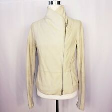 VINCE Women's Sz M Double Collar Asymmetric Zip Moto Leather Jacket Light Gray