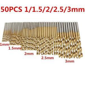 50Pc HSS Mini twist Drill Bit Set Fully Polished Titanium coated 1 1.5 2 2.5 3mm