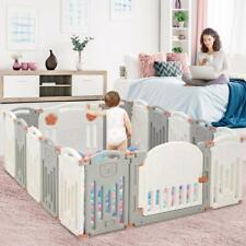 Baby Laufgitter Laufstall 16 Paneele, Absperrgitter Kunststoff mit Tür und Spiel